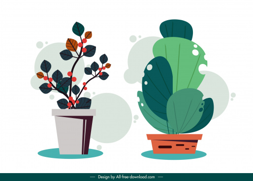 decorative houseplant icons colored classical flat design