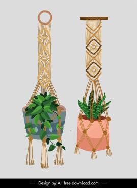 decorative houseplant templates retro boho knitting decor