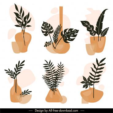 decorative houseplants icons elegant vintage flat sketch