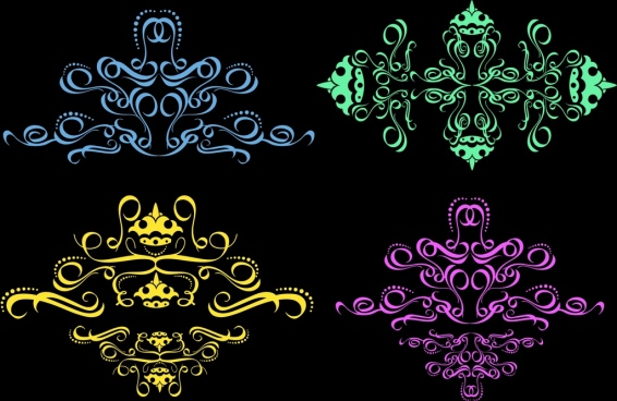 decorative icons collection colorful classical curves design
