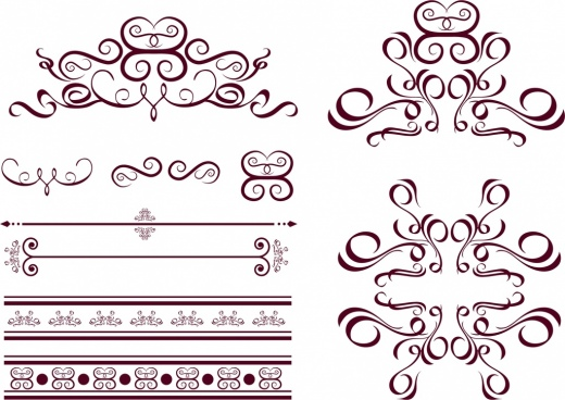 decorative icons design elements classical curves decoration