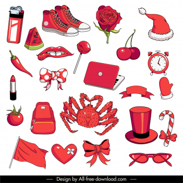 decorative icons red objects animal symbols sketch