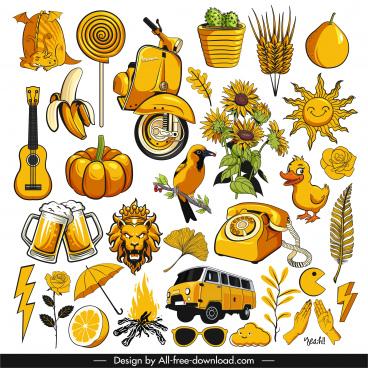decorative icons yellow classic symbols sketch