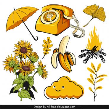decorative icons yellow classical handdrawn symbols sketch