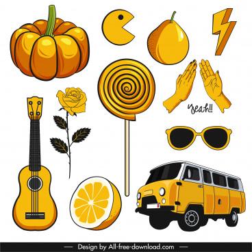 decorative icons yellow decor handdrawn classic sketch
