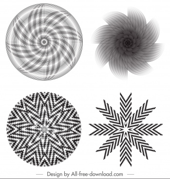 decorative kaleidoscope templates black white dynamic swirled illusion