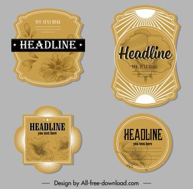 decorative label templates elegant handdrawn floras sketch