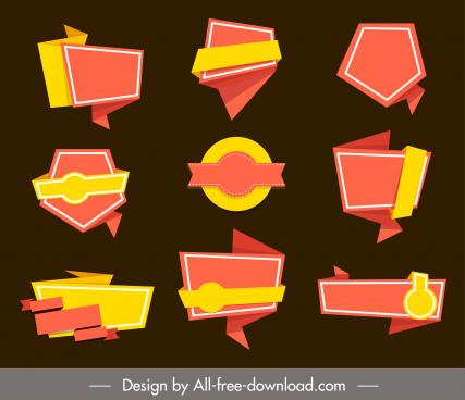 decorative label templates elegant origami shapes