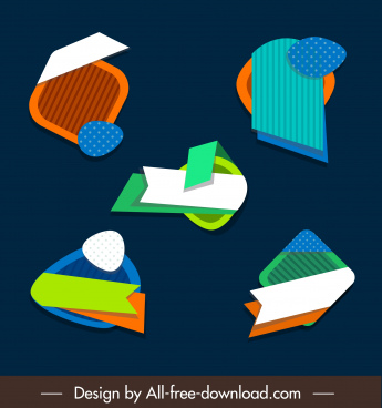 decorative labels templates colorful flat abstract shapes sketch