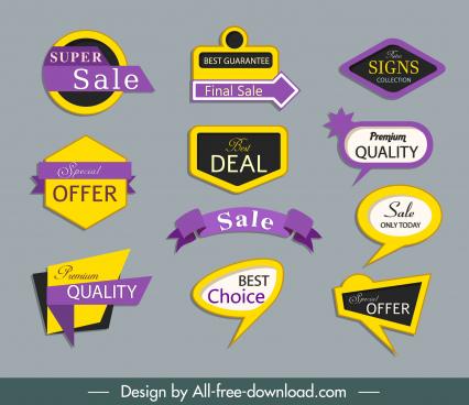 decorative labels templates elegant colorful shapes design