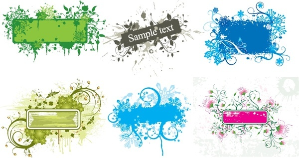 decorative border templates flowers grunge decor