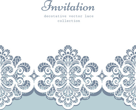 decorative lace invitation cards vector design