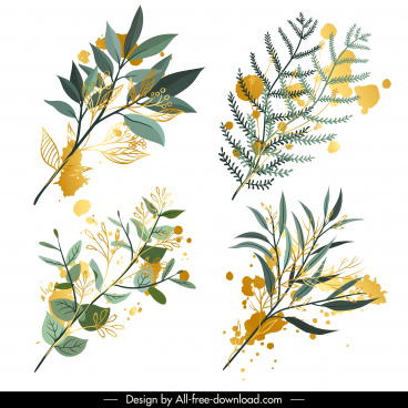 decorative leaf branch icons colored classic grunge design