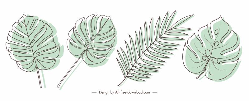 decorative leaf icons retro handdrawn sketch