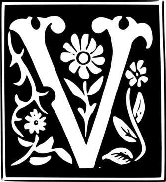 Decorative Letter Set V clip art
