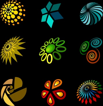 decorative lights design elements various colored shapes isolation