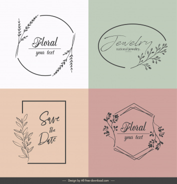 decorative logo templates elegant classic handdrawn flora sketch