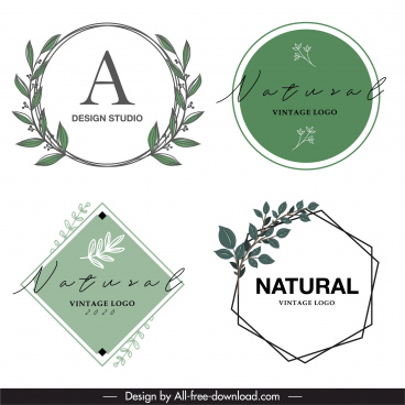 decorative logo templates flat geometric shapes plants decor