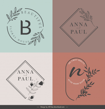decorative logo templates flat handdrawn flower text design