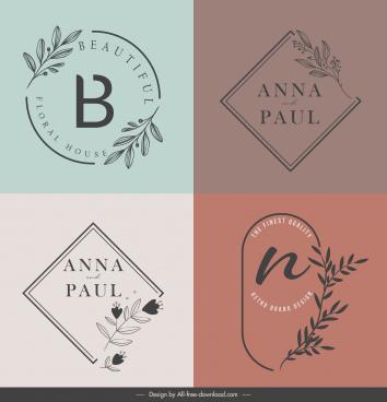 decorative logo templates flat handdrawn flower text design