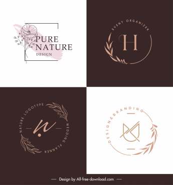 decorative logo templates flat handdrawn plants decor