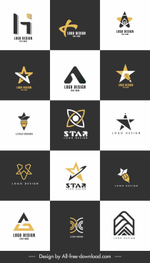 decorative logo templates modern flat geometric design