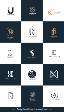 decorative logo templates modern flat shapes sketch
