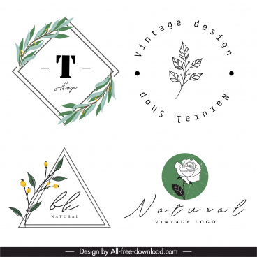 decorative logotype handdrawn plants sketch flat retro design