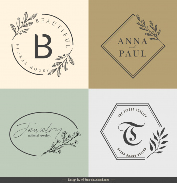 decorative logotypes flat classical handdrawn botany sketch