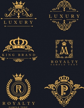 decorative logotypes yellow decor royal style luxury design