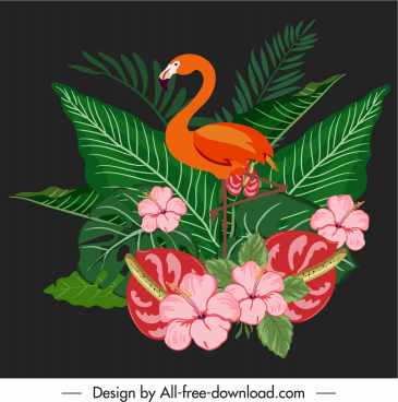 decorative nature element classic elegant flowers flamingo sketch