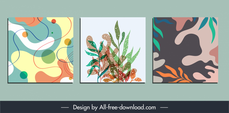 decorative paintings templates colorful abstract plants sketch
