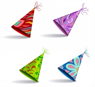 decorative paper hats template 3d multicolored design