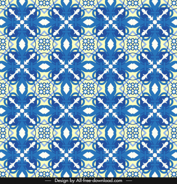 decorative pattern blue classical symmetric repeating design