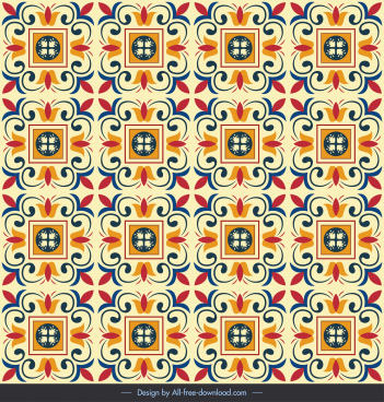 decorative pattern classical symmetric repeating squares curves decor