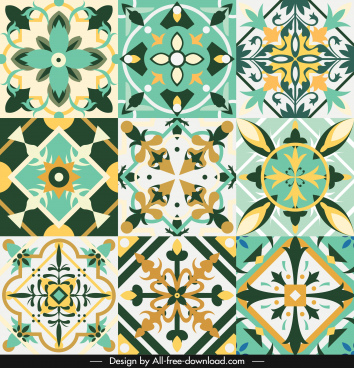 decorative pattern collection colorful elegant symmetric illusion shapes