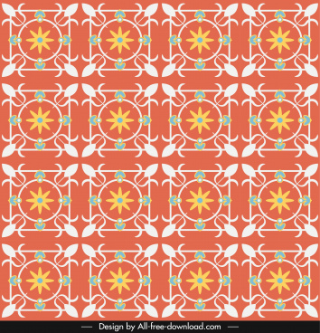 decorative pattern colorful retro design repeating symmetric sketch