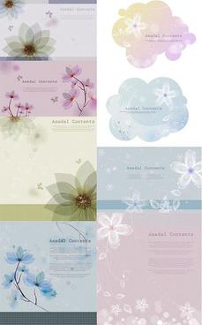 decorative pattern flower background vector set