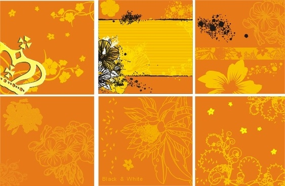 decorative pattern flowers orange background design vector
