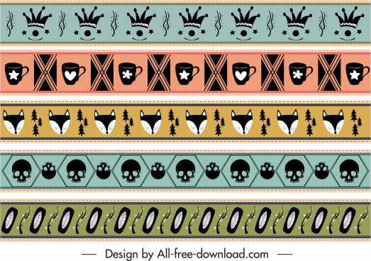 decorative pattern repeating various symbols sketch