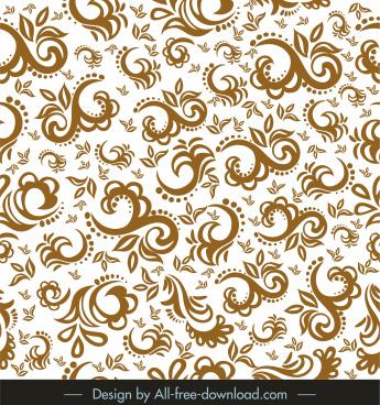 decorative pattern retro curves floras sketch