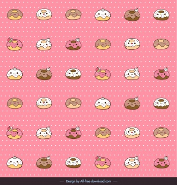 decorative pattern stylized food icons cute repeating design