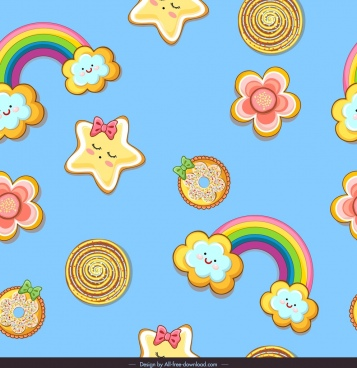decorative pattern stylized rainbow star clouds colorful design