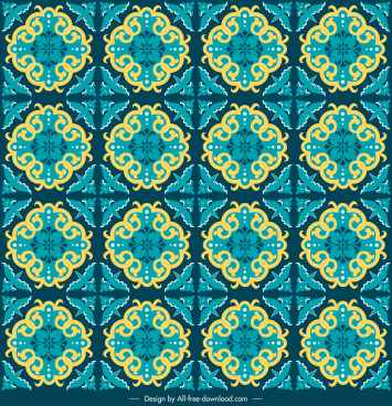 decorative pattern symmetric repeating retro petals sketch