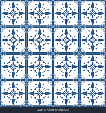 decorative pattern template blue repeating symmetrical flat design