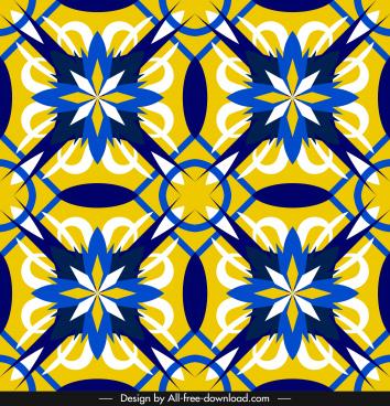 decorative pattern template botanical sketch flat symmetric repeating