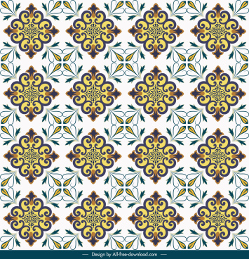 decorative pattern template bright colorful repeating symmetric design