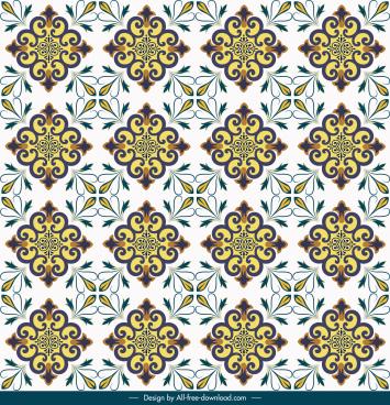 decorative pattern template bright colorful repeating symmetric design
