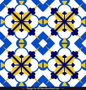 decorative pattern template bright colorful symmetric repeating design
