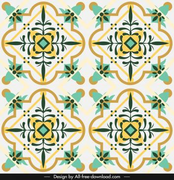 decorative pattern template classical bright colorful symmetric design